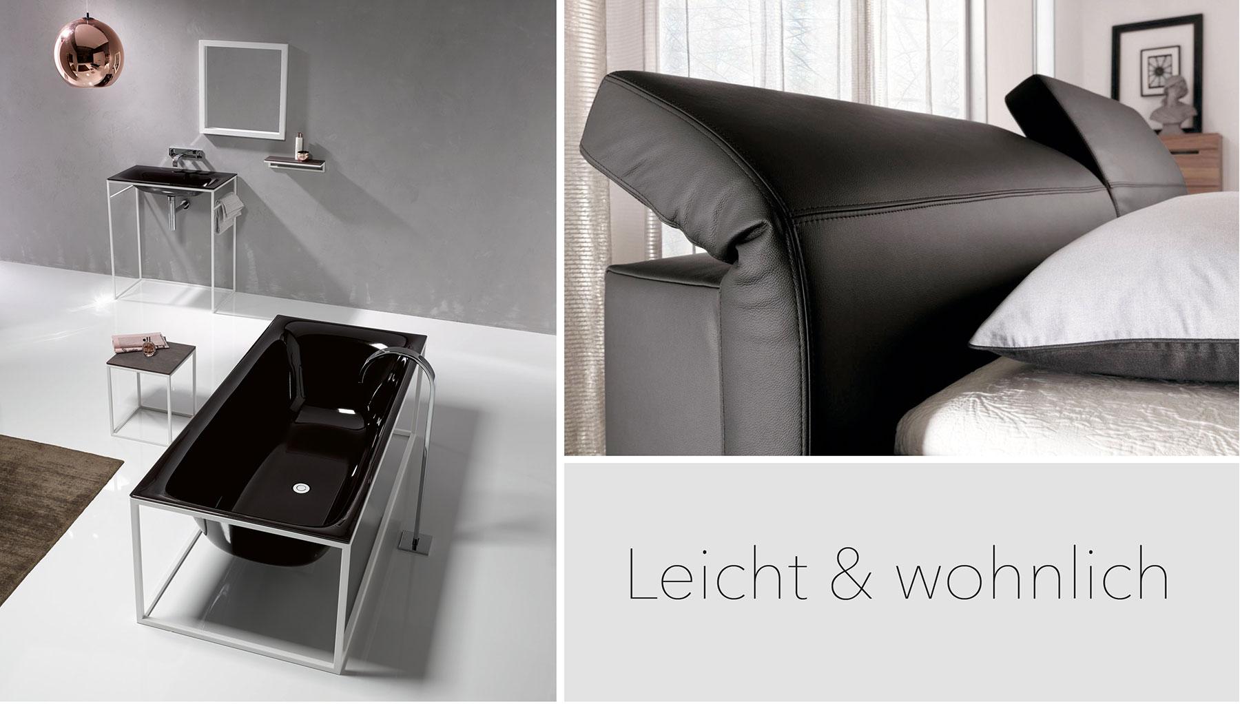 Ausdrucksstarkes Design. Elumo II von Hülsta bringt moderne, funktionell ausgereifte Möbel ins Schlafzimmer. Badkonzept mit offenem Stahlrahmen: Die Form des Innenkörpers bleibt bei BetteLux Shape von allen Seiten sichtbar.