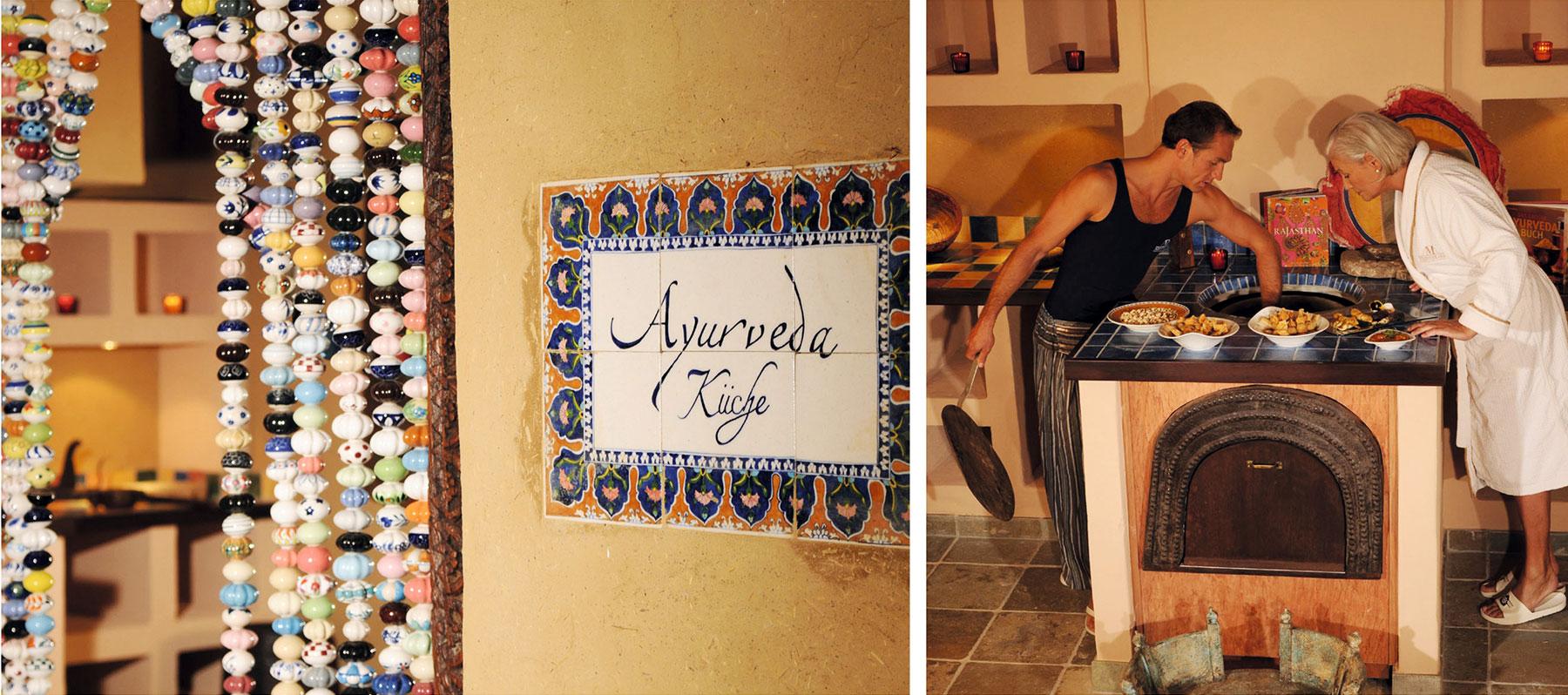 AYURVEDA-KÜCHE. Dem Rajasthaniehaus angeschlossen, rundet sie das Wohlfühl-Angebot optimal ab. LECKERE GERICHTE. Die Speisen werden speziell auf die drei Doshas abgestimmt.