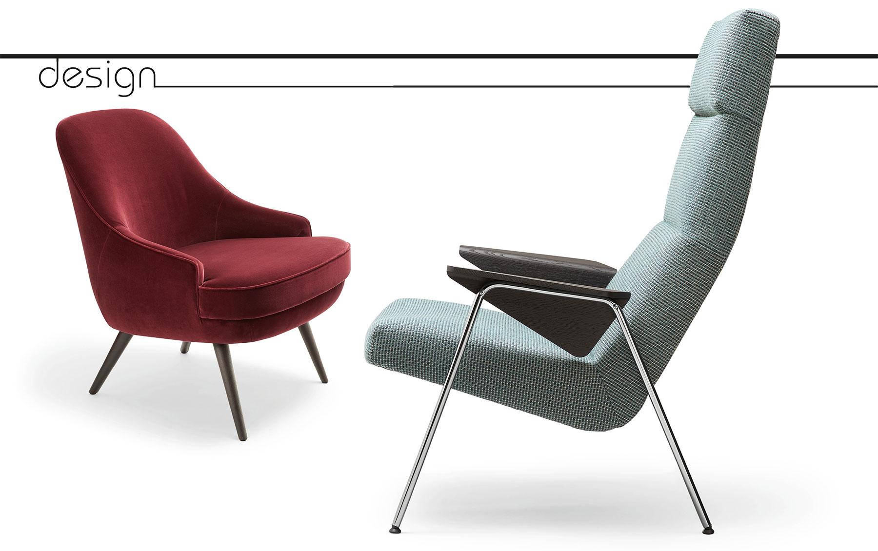 Lady's Chair – der Sessel 375, entworfen im Jahr 1957. Lese- und Ruhesessel 368 aus dem Jahr 1956