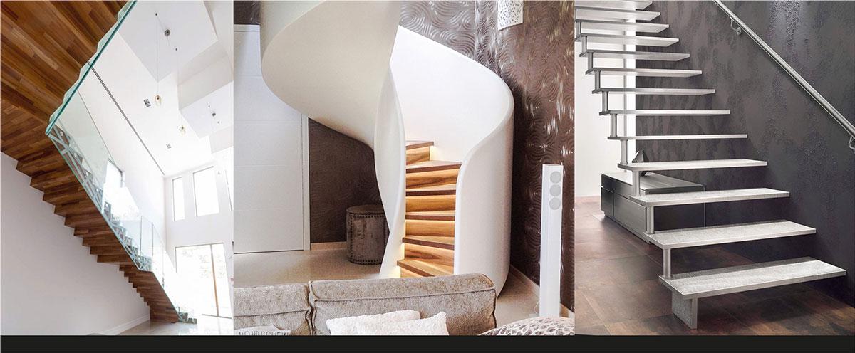 """Designtreppe """"Python"""" von Siller (links) // Moderne Spindeltreppe """"Tornado""""von Siller (mitte) // Aluminiumtreppe """"Areo by Crealloy®"""" von Treppenmeister (rechts)"""