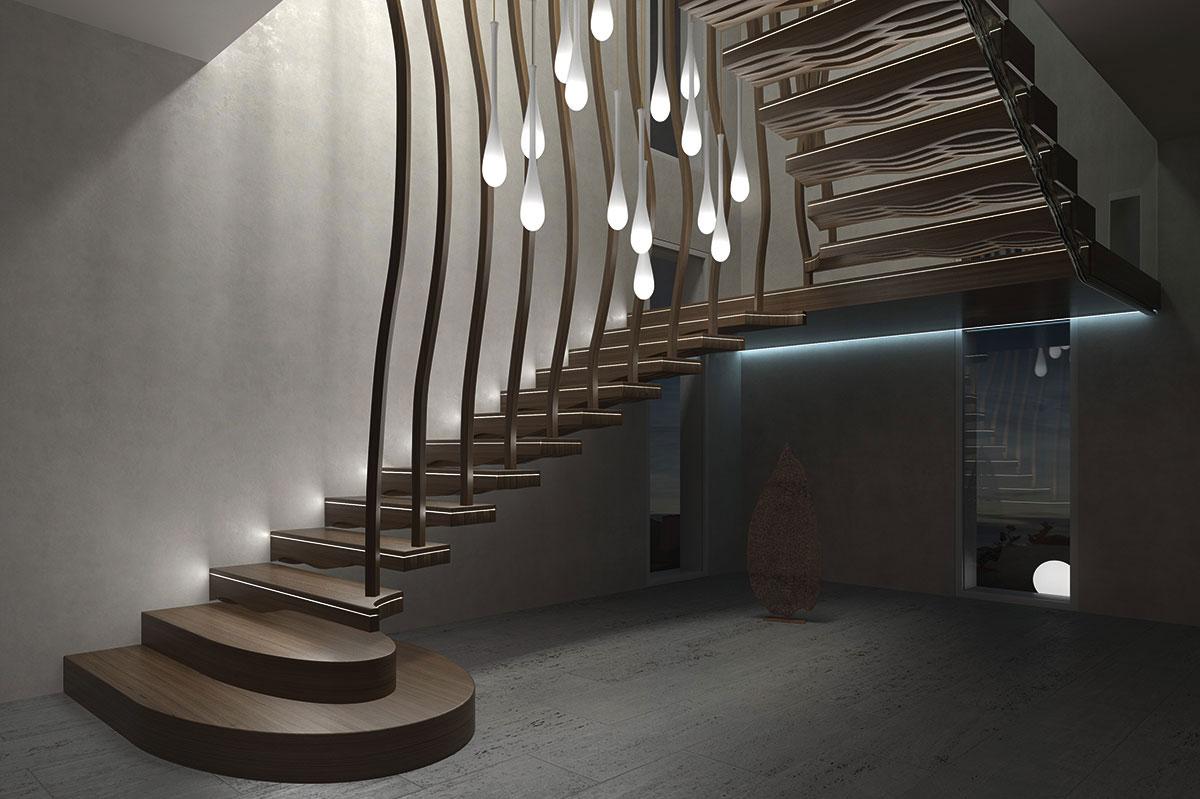 """Organische Designtreppe """"Wave"""" von Siller. Mit LED Integration in den Stufen werden atmosphärische Lichtstimmungen erzeugt."""
