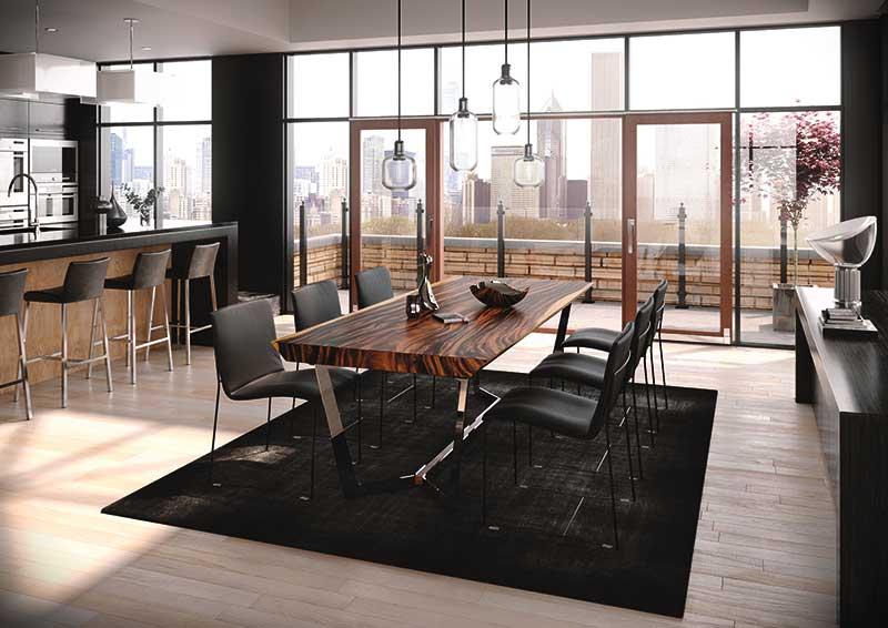 Massiv: die Tischblätter von Conte Caserta werden aus einem Stück Holz gefertigt. www.conte-caserta.co