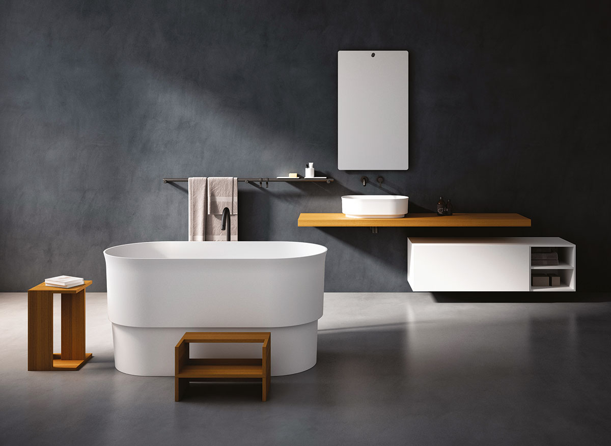 Die Immersion badewanne und das Immersion Becken erinnern an traditionelle Holzbadegefäße in Japan und China.