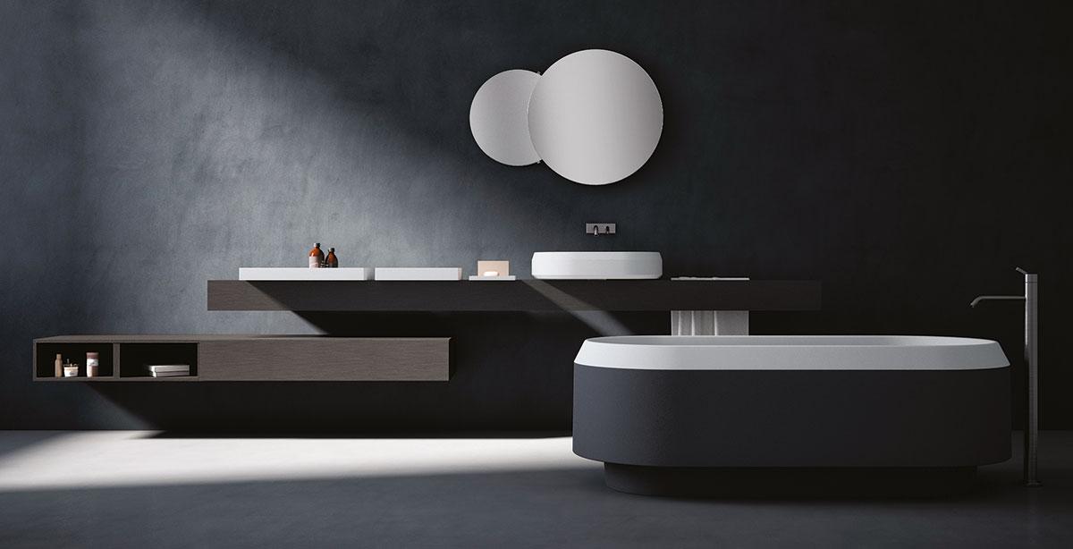 Das Badmöbelsystem Rigo und die Badewanne Marsiglia zeichnen sich durch ein minimalistische design aus.