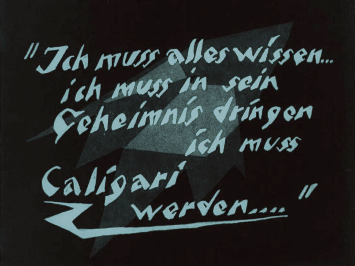 """Zwischentitel kurz vor Ende des V. Aktes des deutschen Stummfilms """"Das Cabinet des Dr. Caligari"""""""