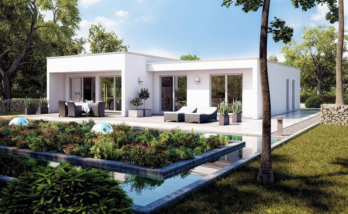 Zurückhaltend im Eingangsbereich und großzügig verglast mit Blick auf die Terrasse und Garten.