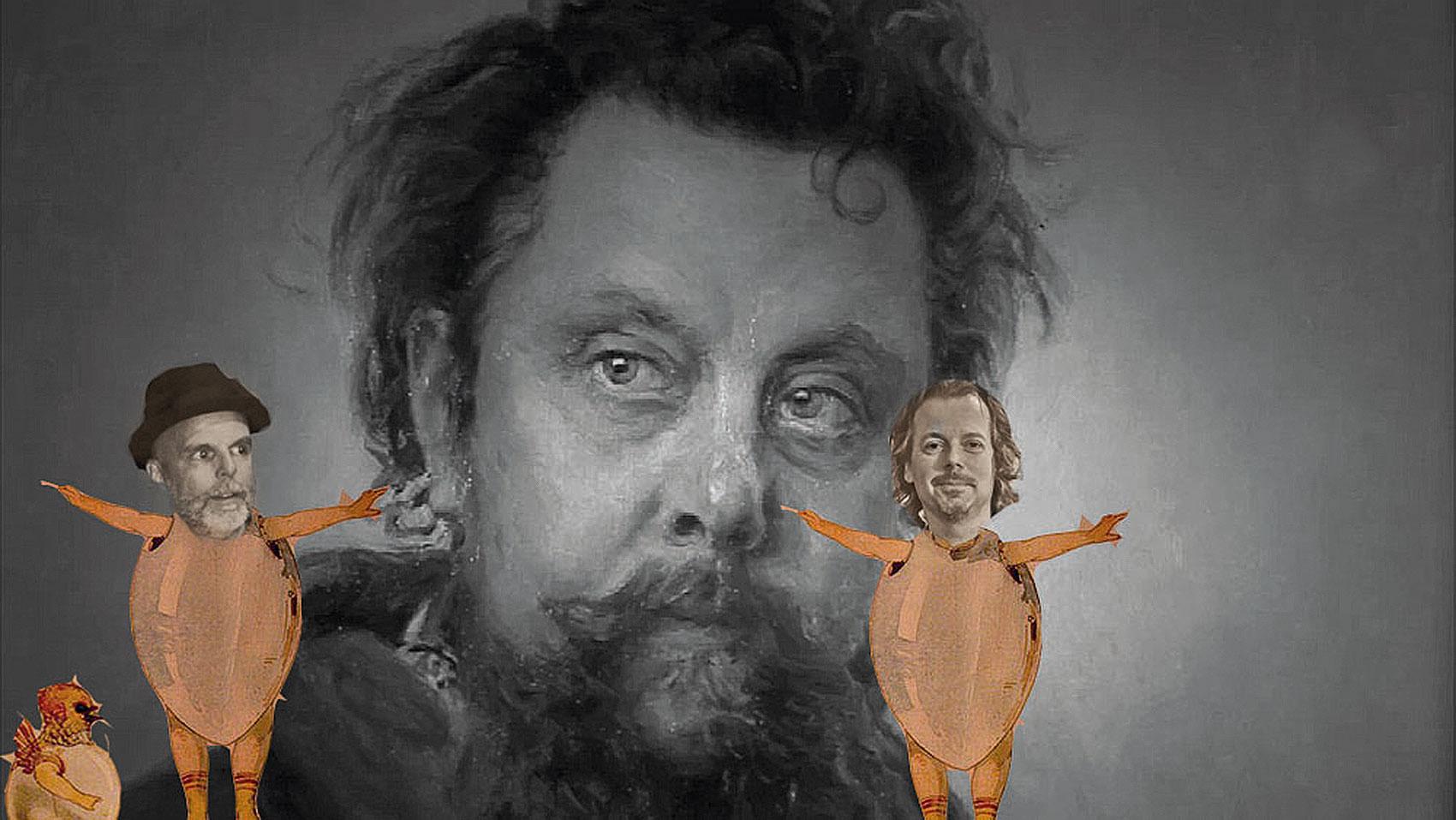 """Die beiden Musiker als """"Küken in den Eierschalen"""" (ein Thema der """"Bilder einer Ausstellung"""") unter den Augen des Komponisten Modest Mussorgski"""